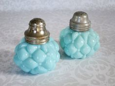 Turquoise Blue Milk Glass Salt and Pepper Shakers - Antique Consolidated Glass - Vintage Milk Glass Shakers