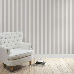 Heritage Grey Stripe Wallpaper   Dunelm