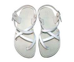 White Triple Leather Sandals - Handmade Sandals, Jesus Sandals, Unisex Sandals, Flip Flop Sandals, Flat Leather Sandals, Genuine Leather Sandals - Sandali_Sandals