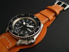 Seiko SKX007 P-38 mod with thick Bundt leather strap
