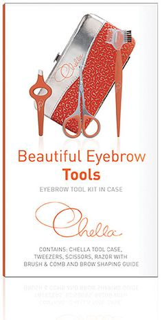 Chella Eyebrow Tools - Eyebrow Tool Kit in Case (comes with Tweesers, Scissors, Razor w/ Brush & Comb, Instructions, Case, and extra slots)