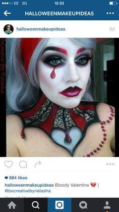 18 Scary Halloween Make-Up Ideas To Try In 2019 - Beaudyfol Scary Halloween Costumes, Halloween Fashion, Halloween Kostüm, Diy Costumes, Costume Ideas, Circus Makeup, Female Clown, Costume Makeup, Sfx Makeup