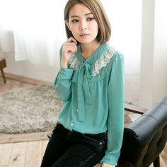 Lace-Trim Tie-Neck Blouse from #YesStyle <3 CatWorld YesStyle.com.au
