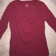 3/4 sleeve maroon knit top! Square neck maroon top! Great condition worn twice. Ann Taylor Loft Tops Blouses