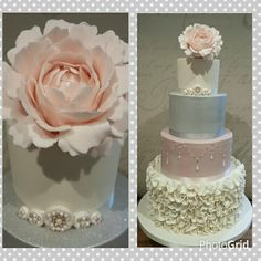 Gorgeous ruffled and muted coloured wedding cake with soft pink peony