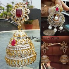 Jewellery Designs: Diamond Chandbalis and Pretty Jhumkas