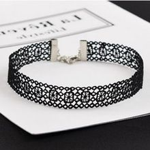 NK246 New Sexy Gothic Tattoo Black Harajuku Punk Hollow Flower Lace Crochet Chokers Necklace for Women Jewelry Girl Clavicle(China)
