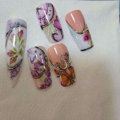 Nail Art Designs, Fingernail Designs, Colorful Nail Designs, Sharpie Nail Art, Gel Nail Art, Gypsy Nails, Vintage Nail Art, Japan Nail Art, Sculpted Gel Nails
