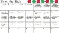 Elf on the Shelf Calendar {Free Printable}