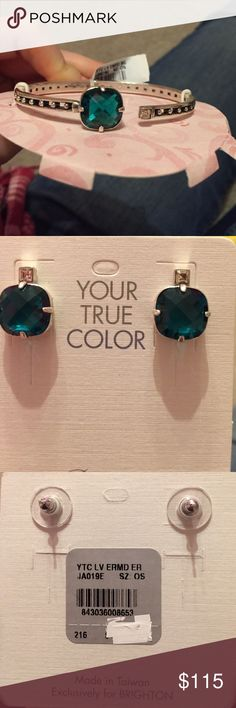BRAND NEW: Brighton Earrings and Bracelet BRAND NEW: Brighton Loveable Post Earrings and Loveable Hinged Bangle Bracelet. They are both Emerald Green and Sterling Silver! These would make a wonderful Christmas gift!! Brighton Jewelry