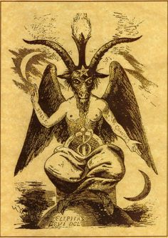"This is the ""god of the witches"" with his arms ""he"" points to the sky and to earth which represents the old magical creed what is ""That which is above is the same as which is below."""