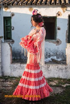 Colección de trajes de flamenca 2015 - Manuela Macías Moda Flamenca Coral, Shoulder Dress, Dance, Flamenco Dresses, Models, Manila, Inspiration, Beauty, Fashion