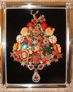 Vintage Jewelry RED HAPPY HOLIDAY  Ho-Ho-Ho Framed Jeweled Christmas Tree - Rhinestones - Sparkling Jewels on Black Velvet - Traditional. $125.00, via Etsy.
