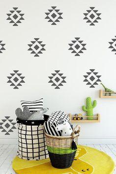 Western Aztec Faux Wallpaper Decals - Set of 40