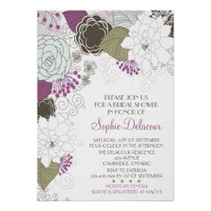 Purple Whimsical Floral Bridal Shower Invitations