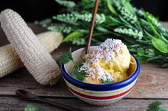 Mexican Sweet Corn Ice Cream with Queso Fresco, cayenne, pepper and cilantro!