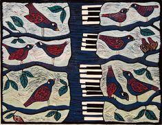 linocut Sing me Lovesongs birds tree blue red by linocutheaven