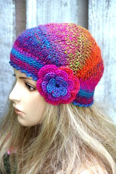 Knitted flower hat Colorful Knitted Beanie Women's Knitted Outerwear Women accessories Adult Teen  Comfortable