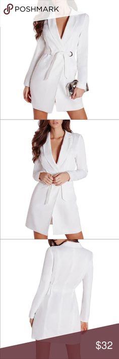 White blazer dress Brand new, never worn. Sexy MINI blazer dress. (I'm 5'1 and it's right below my thighs for me) Fashion Nova Dresses Mini