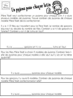 Mini-résolutions de problèmes pour les élèves du 2e cycle. Thème de Noël Literacy And Numeracy, Math Centers, Math Activities, French Teacher, Teaching French, Teaching Tools, Teaching Math, School Organisation, Daily 5 Math