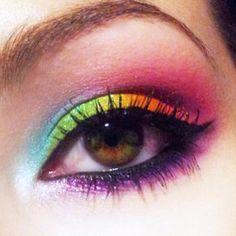 Amazing Neon Rainbow look by unleashthebeauty using all #Sugarpill eyeshadows over #Kryolan UV Aquacolors as a base!