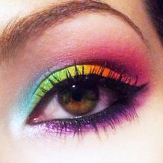Amazing Neon Rainbow look by unleashthebeauty using all #Sugarpill eyeshadows over #Kryolan UV Aquacolors as a base!