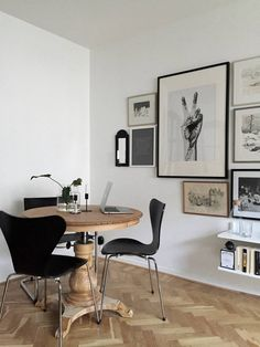 Gallery wall for a multifunctional Swedish dining area. Looking for unique and beautiful art photo prints to create your own art wall at home? Visit bx3foto.etsy.com (Beauty Design Reading Nooks)