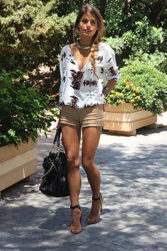 Blouse - Lulu's (SS 12), Shorts - Pull and Bear (SS 11), Sandals - Zara (SS 12), Bag - Zara (old)