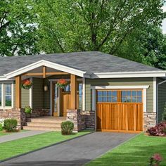 a Craftsman-style Photoshop redo focuses on a front gable same pitch as sides of hipped roof