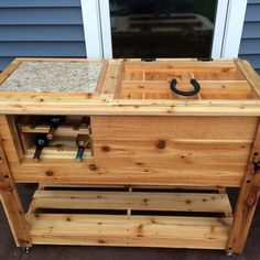 Cedar Outdoor Party Station Cooler Cart