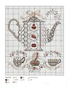 Tea and macaroon-free pattern Cross Stitch Kitchen, Cross Stitch Love, Cross Stitch Charts, Cross Stitch Designs, Cross Stitch Patterns, Cross Stitching, Cross Stitch Embroidery, Embroidery Patterns, Plastic Canvas Patterns