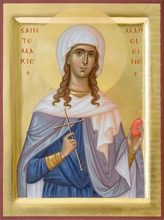This waist-long icon of St Mary Magdalene, Equal-to-Apostles, can be painted in the Icon Painting Studio of St Elisabeth Convent using either acrylic or tempera paints Writing Icon, Santa Maria, Maria Magdalena, Paint Icon, Byzantine Icons, Painting Studio, Orthodox Icons, Tempera, Christian Art
