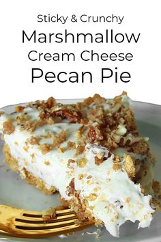 Light & fluffy cream cheese pie is loaded with gooey marshmallow and crunchy candied pecans. Pecan Desserts, Holiday Desserts, Easy Desserts, Delicious Desserts, Dessert Recipes, Cream Cheese Pie, Cream Cheese Desserts, Cheese Pies, Cheese Cookies