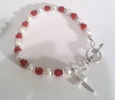 Virtuous Woman Bracelet.  Ruby Crystals and Pearls