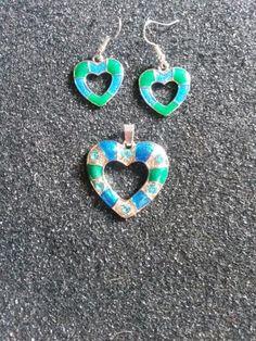 Blue and green silver metal pendant with matching earrings #newjewlz #hempjewlz #hemp #jewelry #pendant #metal #silver #heart #blue #green #set