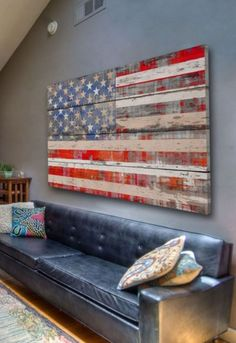 I like the idea of art made out of old-looking wood. Maybe not a flag but something else?