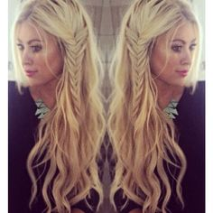 Love her hair!  Beach waves with a side braid...boho hairstyle women's long hair loose waves