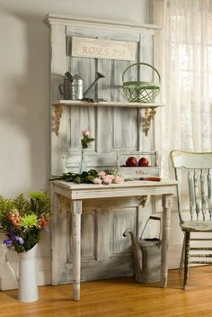 Make one of these from a salvaged door and it would make a great potting shelf in the back yard.