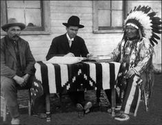 """""""I will say nothing and do nothing to restrain our troops from doing what they deem proper on the spot, and will allow no mere vague, general charges of cruelty and inhumanity to tie their hands."""" Gen. Phillip Sheridan, 1868. - In 1879 Native Americans were finally recognized as """"persons"""". They were granted citizenship in 1924. After another 20 years they were given the right to vote. Photo: Chief American Horse being naturalized in 1907. He died 1908 Pine Ridge South Dakota."""