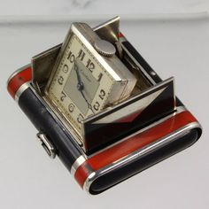 Cartier Art Deco Purse Watch in Lacquered Sterling Silver Case