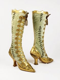 f0031ba7ba Velvet and Leather Buttoned Boots, ca. 1890svia Bata Shoe Museum Vintage  Ruha, Vintage