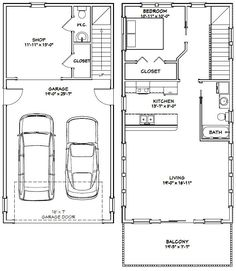 House -- bath with a Shop -- 965 sq ft -- PDF house plans, garage plans, shed plans. Garage Apartment Floor Plans, Garage Loft, Garage House Plans, Garage Apartments, Small House Plans, House Floor Plans, Car Garage, Garage Apartment Interior, The Plan