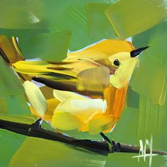 Yellow Warbler no. 70 original bird oil painting by Angela Moulton
