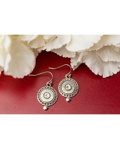 Women's Elegant Circle Dot Bullet Earrings (.45 Auto) - Silver