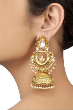 Silver Gold Plated Traditional Crystal Pearl Jhumka