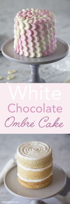 A simple but delicious vanilla cake is covered in and filled with white chocolate buttercream with a delicate ombré petal effect. Click over for full recipe and video.