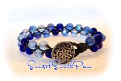 Beaded Braided Leather Bracelet, Blue Fire Polished  Beads, Black Leather, Stacking Bracelet, 7 inches, FREE SHIPPING! by SunsetSouthPaw on Etsy