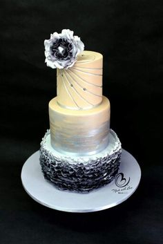 Ombre greys rolkem silver and fantasy flower bellacakes.nz