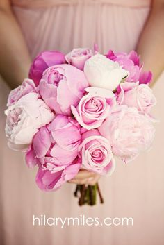 Pink Peony and Rose Bouquet www.hilarymiles.com
