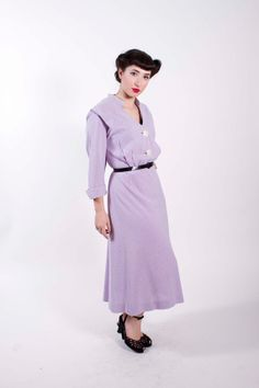 Vintage Early 1950s Dress Purple Shirtwaist 50s Vintage Day Dress Plus Size
